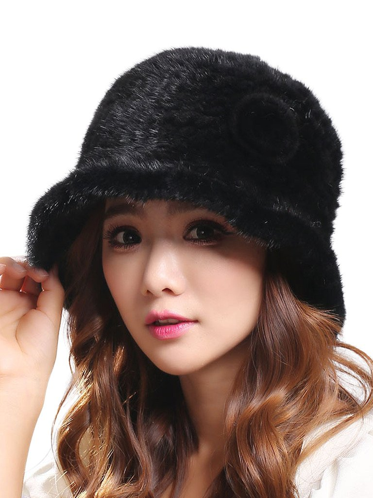 LITHER Womens Winter Hat Knitted Mink Real Fur Hats Black