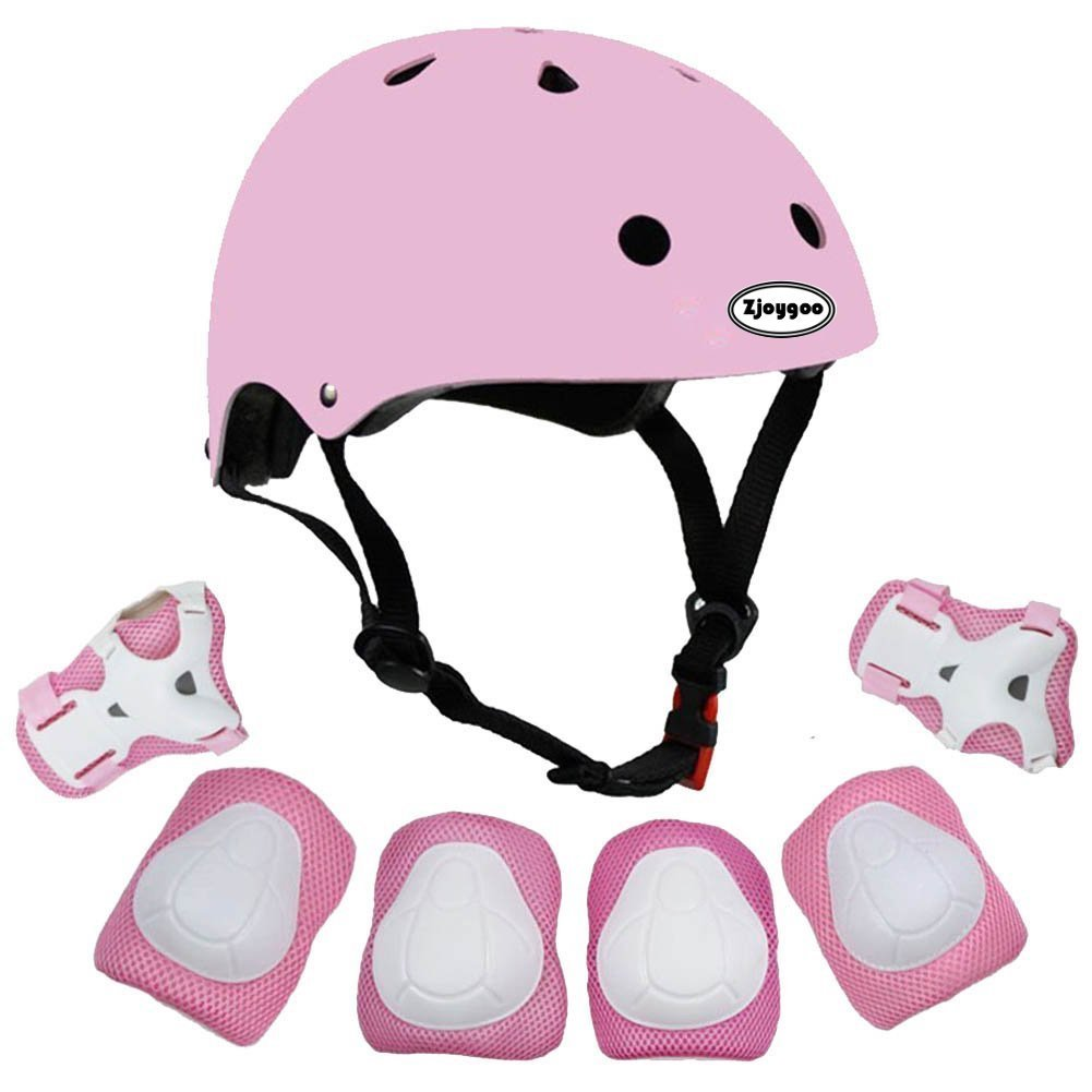 Kids Outdoor Sport Protective Gear Set with Helmet Knee Elbow Wrist Pads Adjustable Safety for Cycling Skateboarding Skating Rollerblading Hoverboard BMX and Other Extreme Sports Activities (pink)