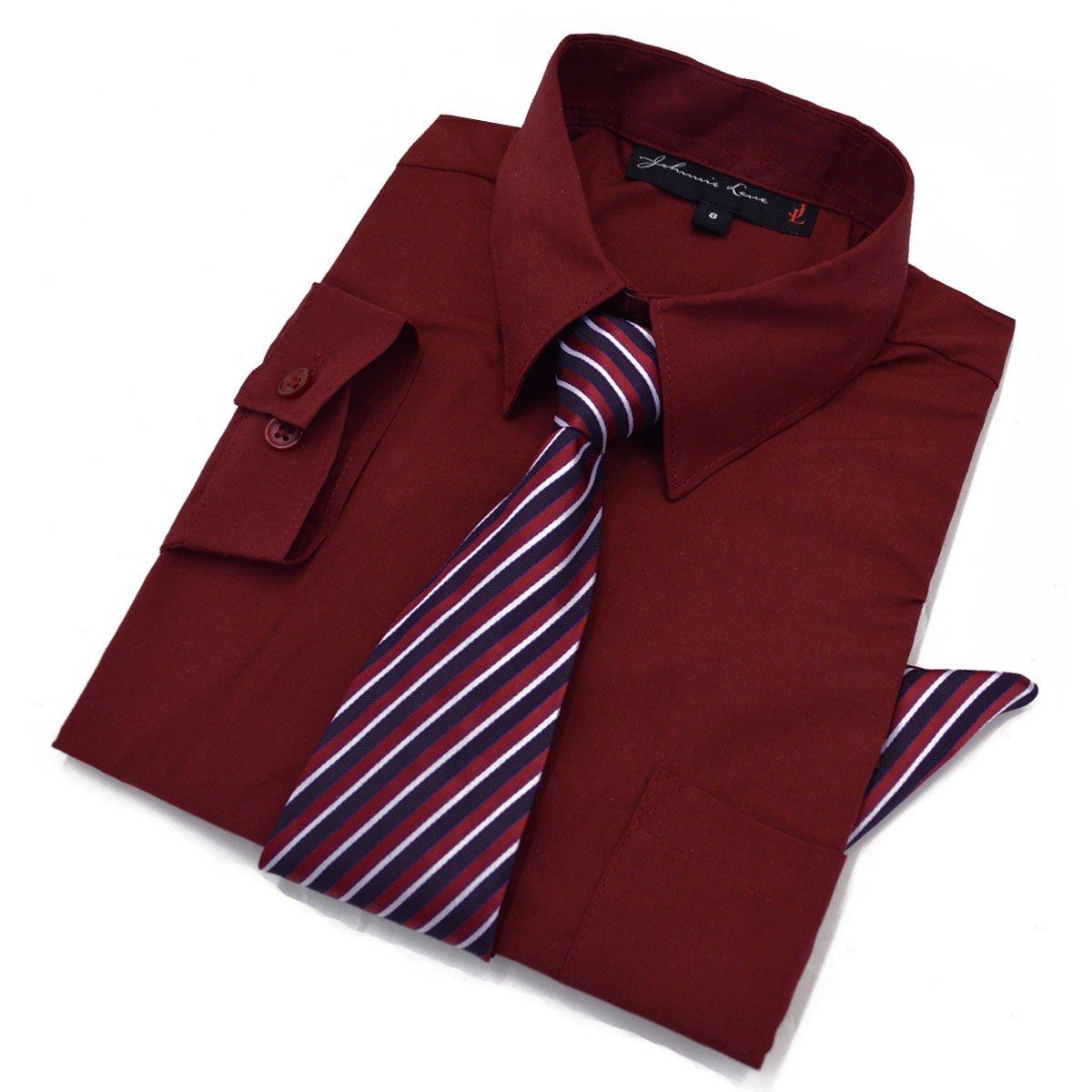 Big Boys Long Sleeve Dress Shirt with Tie and Handkerchief JL26 (8, Burgundy)