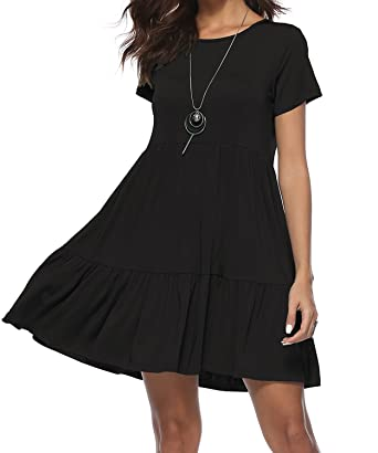6579216eb99 DEMO SHOW Women s Dress Summer Casual Short Sleeve Round Neck Patchwork  Pleated Loose Dress A-