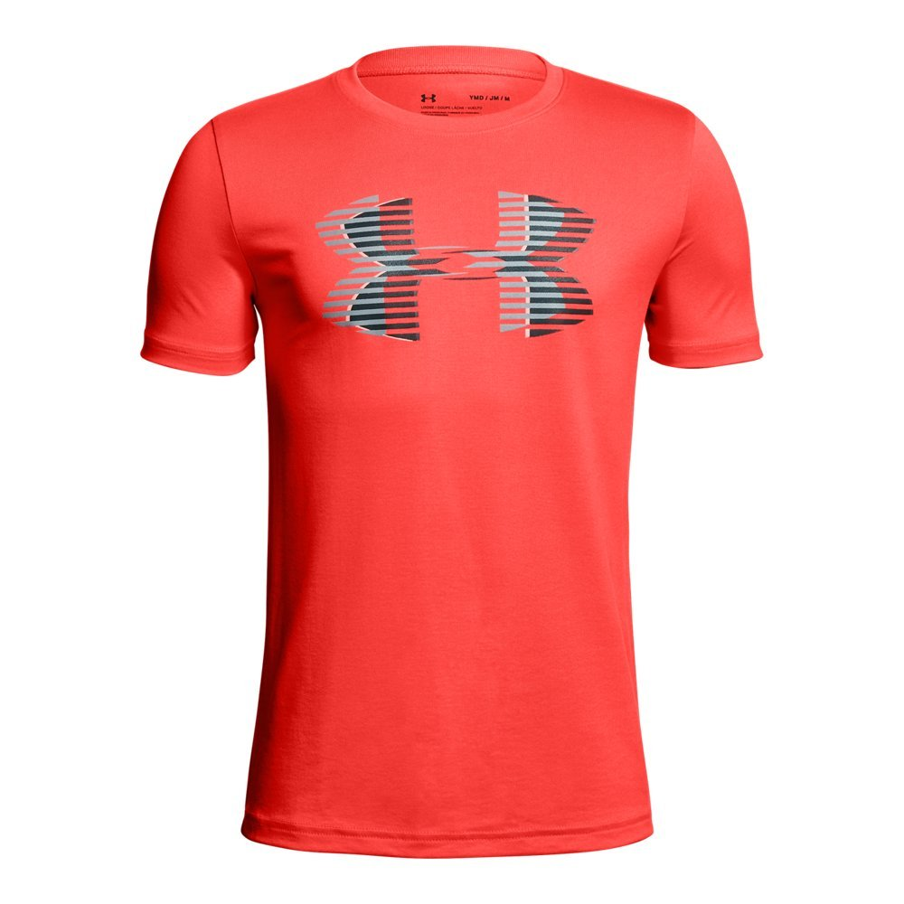 Under Armour Boys' Tech Big Logo Solid T-Shirt, Neon Coral (985)/Steel, Youth X-Small