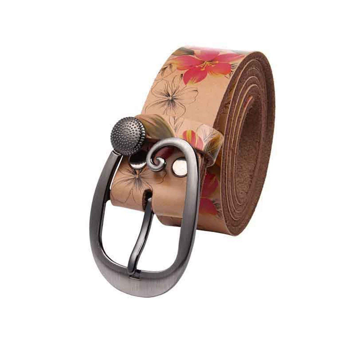 Mistere Nice Women Wide Belt Ladies Flower Print Leather Belt Female Strap Fashion Jeans Belts For Women,Your thirst,Brown