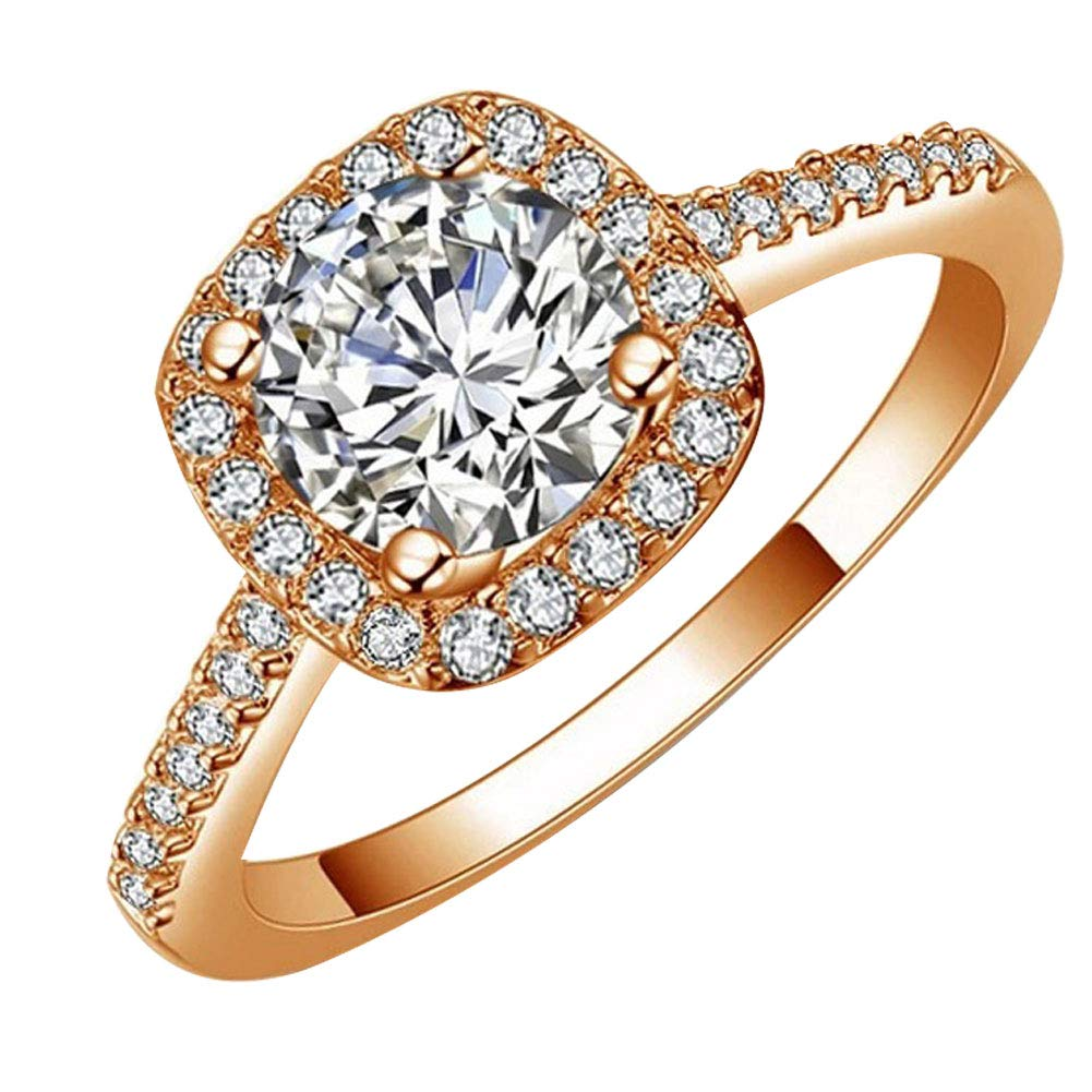Afco Girls Big Round Cubic Zirconia Inlaid Engagement Wedding Finger Ring Jewelry - Rose Gold 10
