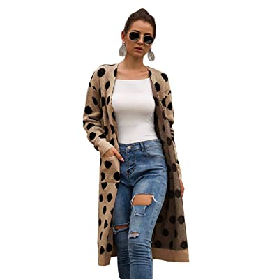 YYW Women Polka Dot Print Knit Long Cardigan Long Sleeve Open Front Sweater Cardigans Leopard Outwear Coat with Pocket (Khaki-1, X-Large) at Women's Clothing store