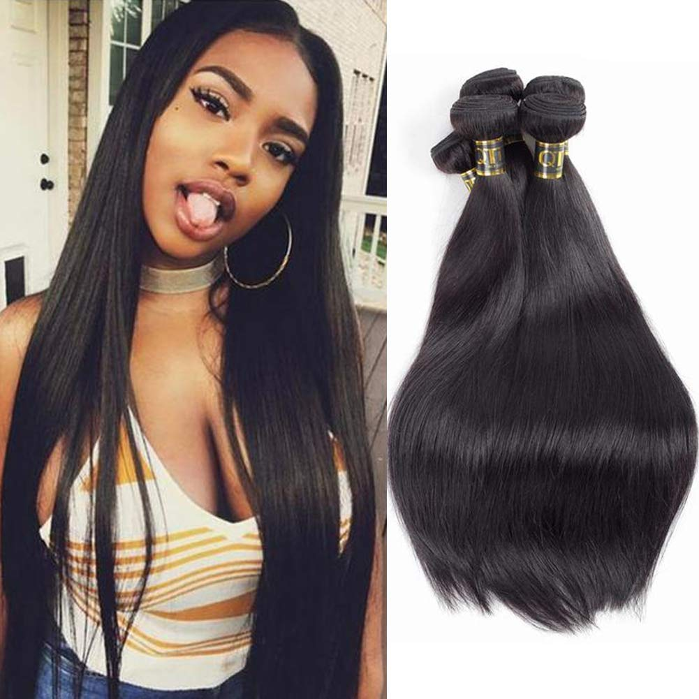 QTHAIR 10A Virgin Hair Indian Straight Human Hair(18 20 22 24,400g) 100% Unprocessed Straight Indian Virgin Hair Weave Natural Black Color Indian Strai by QTHAIR