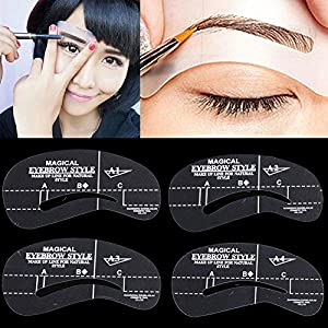 Women Cosmetic Makeup Tool Eyebrow Template Drawing Card Shaping Stencils 4PCS