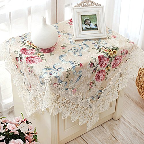 Thai Embroidery Fabric Bedside Table Cloth,Towel Round Lace Table Cloth, Color Table-A diameter180cm(71inch) by JIN Tablecloths