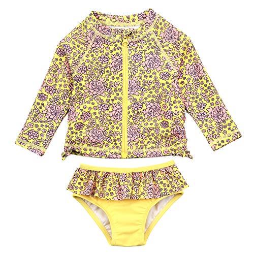 SwimZip Girls UPF 50+ Long Sleeve Rash Guard Swimsuit Set (2 Piece) | Ditsy Floral - 6-12 Month (Piece Infant Swimsuit 2)