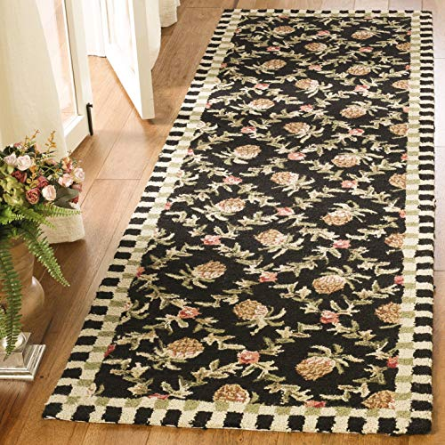 Safavieh Chelsea Collection HK164A Hand-Hooked Black and Ivory Premium Wool Runner 2 6 x 6