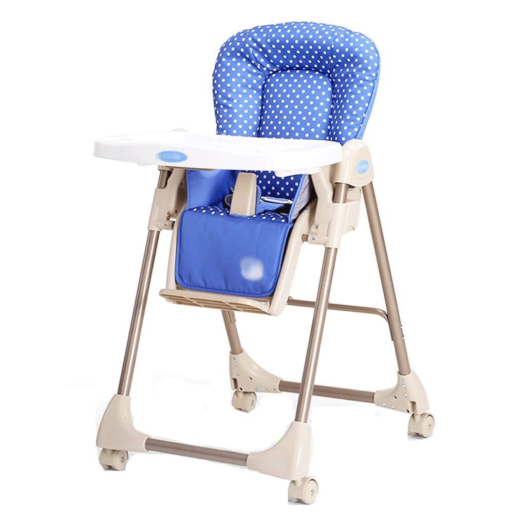 子供用ダイニングチェア 子供のダイニングチェアPP多機能折りたたみダイニングテーブルハイチェア (色 : 青)  青 B07H6F2QP9