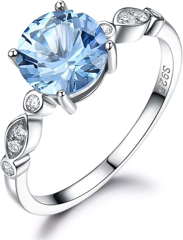 AueDsa Anillo Azul Claro Plata Anillo Plata Mujer 925 de Compromiso Anillo Redondo 4-Prong Circonita Azul Blanca