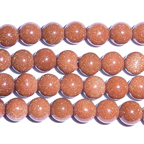 TheTasteJewelry 8mm Round Goldstone Brown AA Grade Beads 15 inches 38cm Jewelry Making Necklace Healing