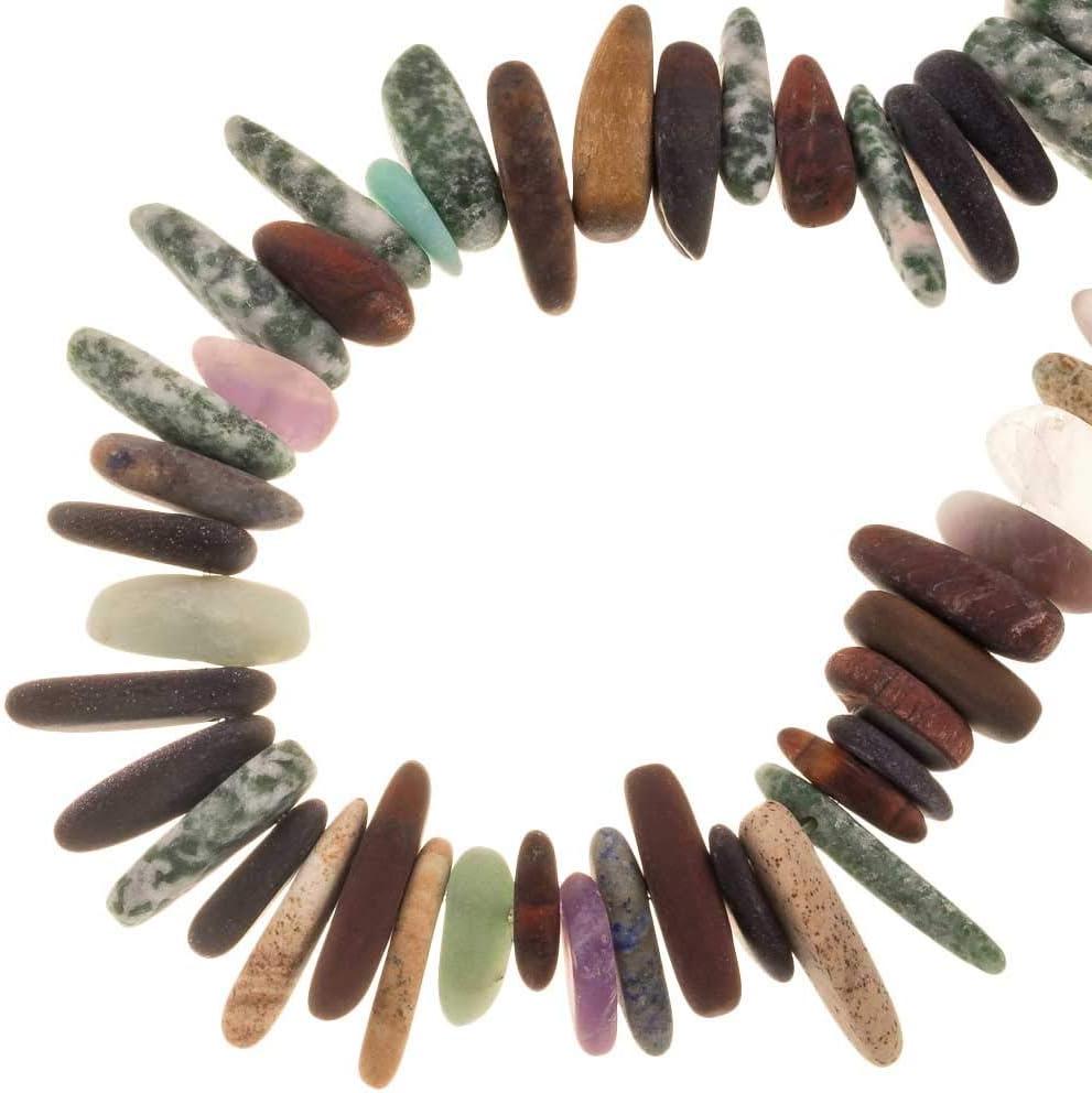 Dreambeads Online - Perlas de piedra natural (12-22 x 4-6 mm, 85 unidades)