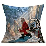 Pgojuni_Pillowcases Merry Christmas Linen Decoration Accent Throw Pillow Cover Cushion Cover for Couch/Sofa 1pc 45X45 cm (H)
