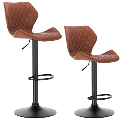 Miraculous Woltu Bar Stools Brown Bar Chairs Breakfast Dining Stools For Kitchen Island Counter Bar Stools Set Of 2 Pcs Faux Leather Exterior Adjustable Swivel Best Image Libraries Thycampuscom
