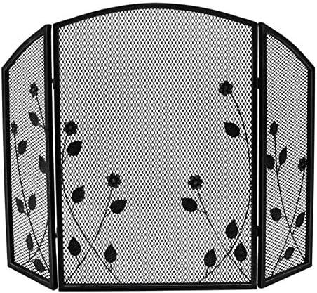 暖炉スクリーン 3パネル暖炉スクリーンアイアンブラック安全ガードカバー - 屋内&屋外スパークガードカバーに赤ちゃん/ペット - 折りたたみデザイン
