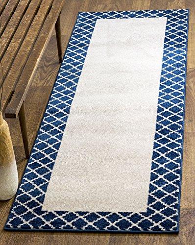 Netural & Blue Rug Border Trellis 2x8 Geometric Lattice P...