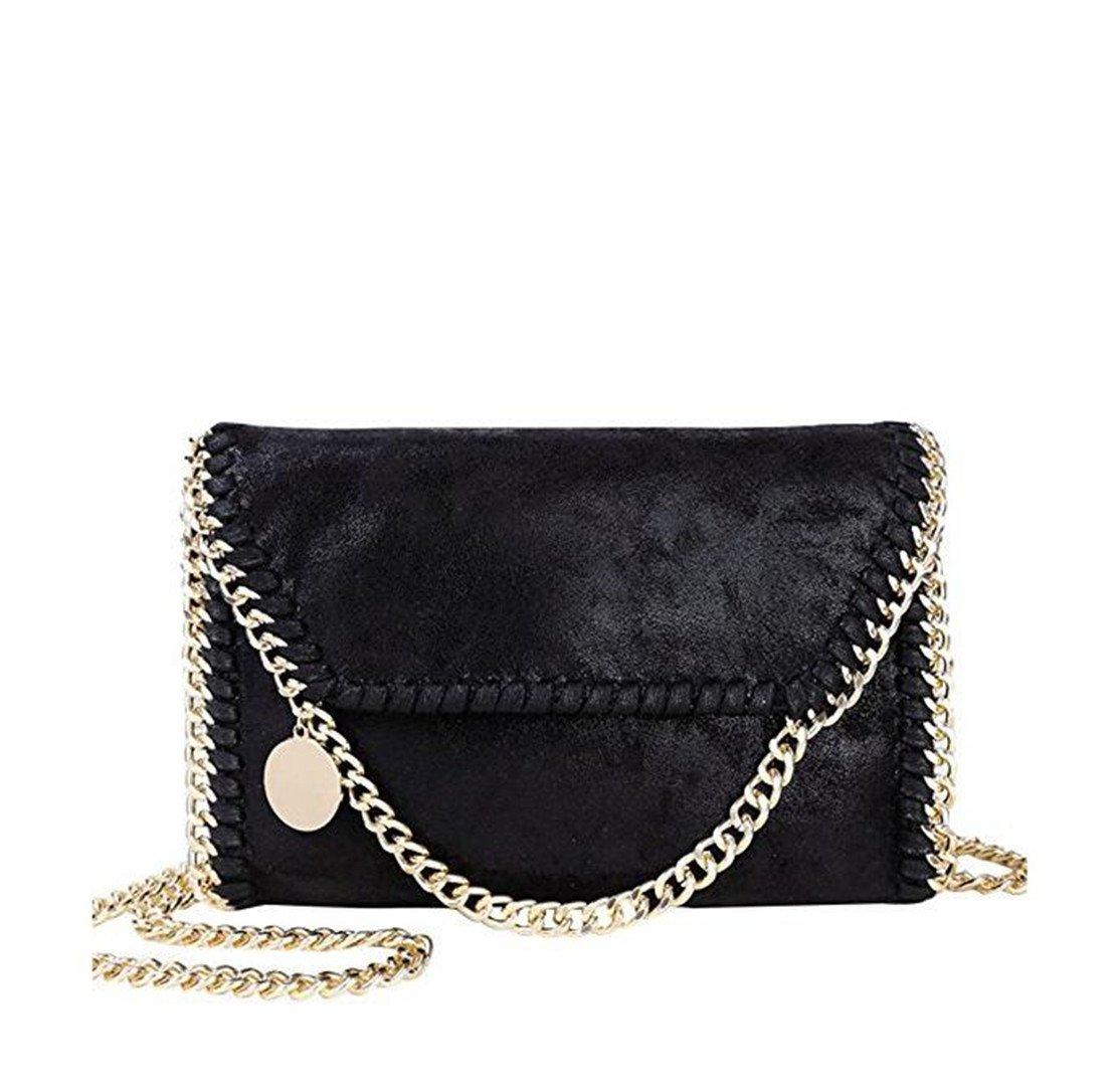Mioy Women's Solid color handbag Mini Soft PU Leather Crossbody bag Casual Chain Bag shoulder Bag For girls (Black-2)