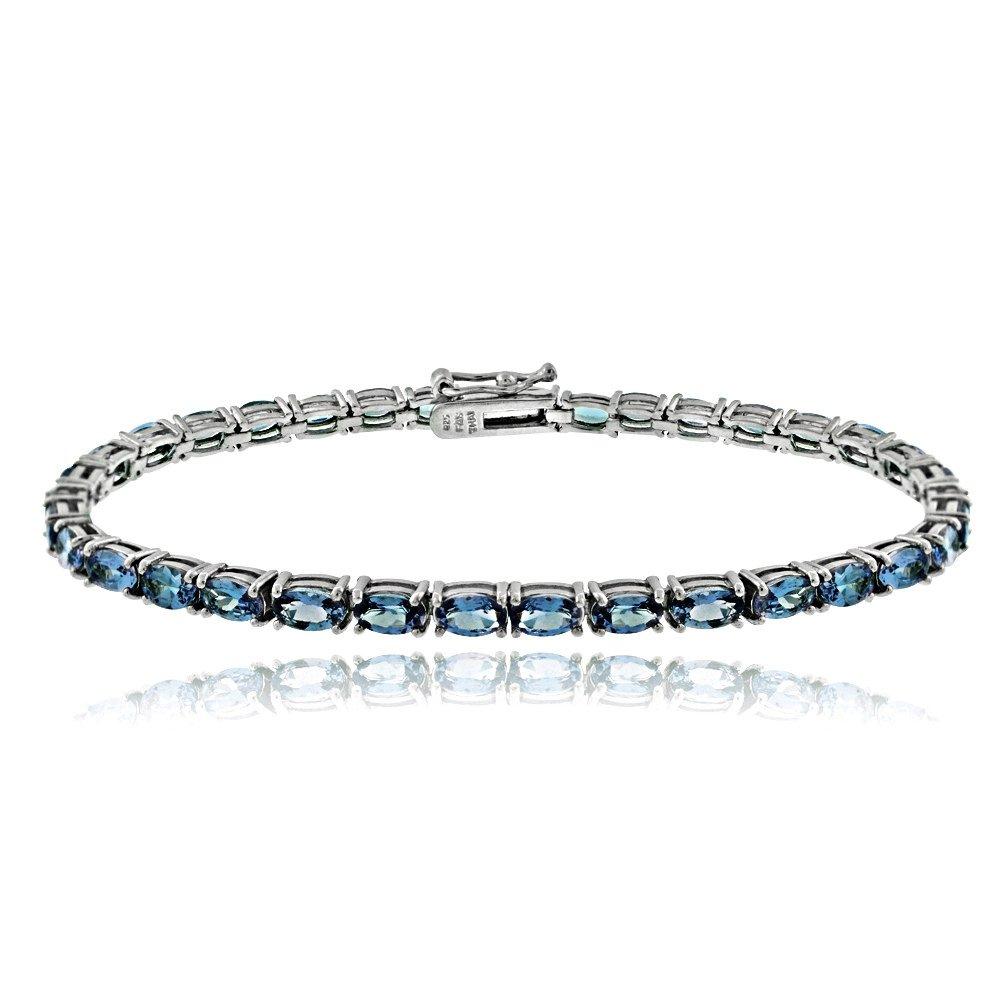 Sterling Silver London Blue Topaz 5x3mm Oval Tennis Bracelet