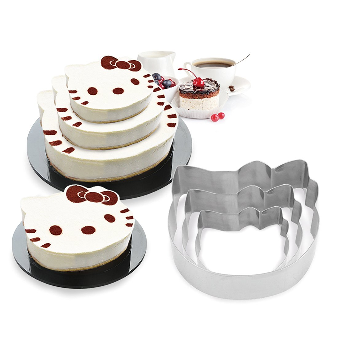 3 Tier Cat Multilayer Anniversary Birthday Cake Baking Pans,Stainless Steel 3 Sizes Rings Cat Molding Mousse Cake Rings(Cat-shapes,Set of 3)