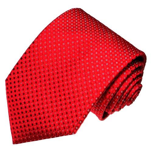 LORENZO CANA - Luxury Italian 100% Silk Tie Woven Handmade Red White Polka Dots - 84467 ()