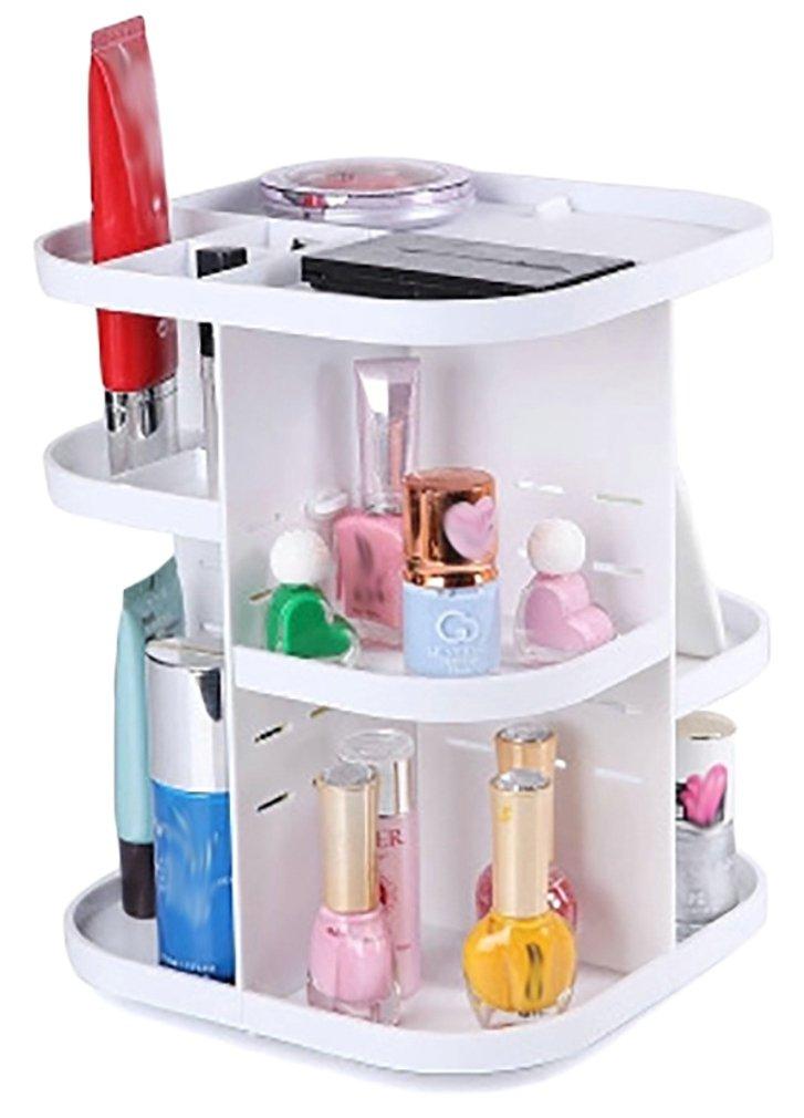 Elezay Women's 360° Revolving Shelf Display Adjustable Make Up Storage Tower White