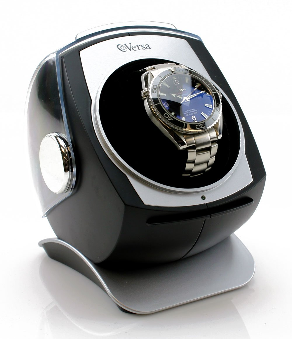 [Newly Upgraded] Versa Automatic Single Watch Winder with Sliding Cover (Black) by Versa
