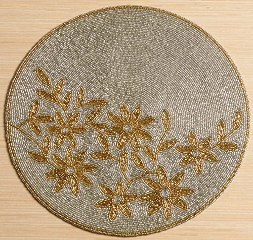KINDWER Glass Beaded Flower Placemat, 15