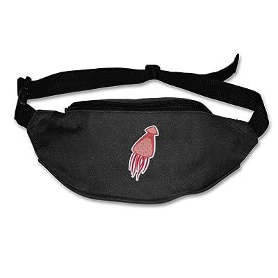 Janeither Unisex Pockets Octopus Red Fanny Pack Waist/Bum Bag Adjustable Belt Bags Running Cycling Fishing Sport Waist Bags Black