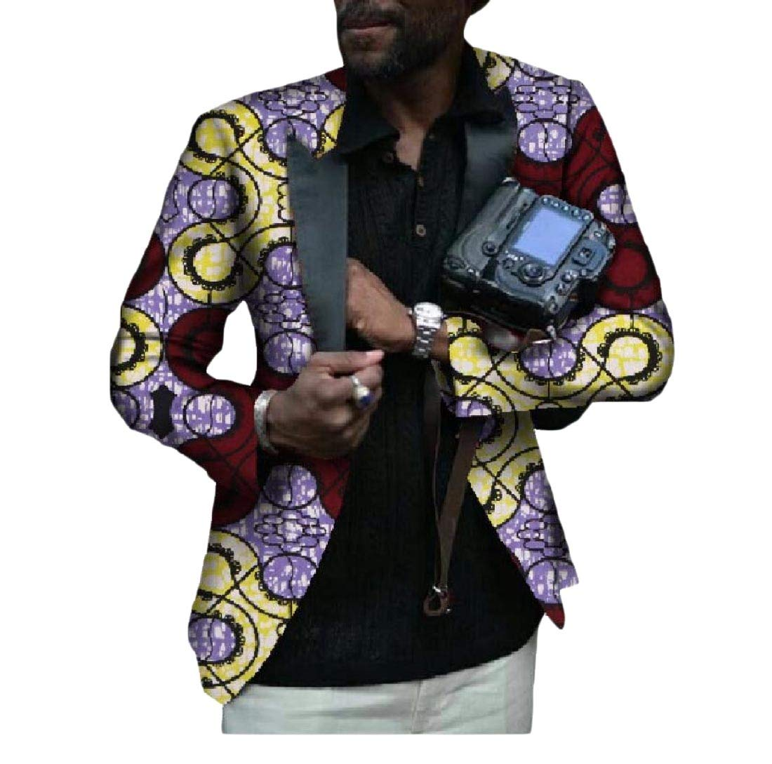 Abetteric Men's Fit Africa Printing Small Blazer Casual Simple Suit Jacket 4 XL