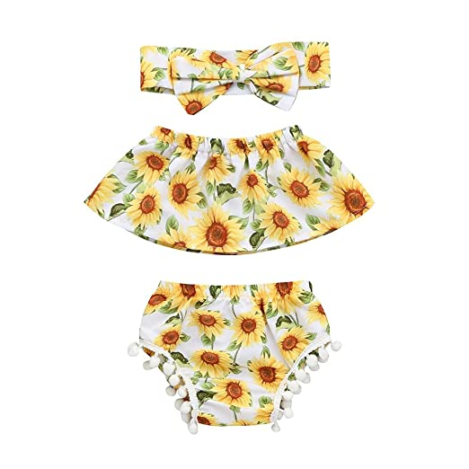 da0d6d36b72 Amazon.com  Hatoys 3PCS Newborn Infant Baby Girls Romper  Jumpsuit+Shorts+Headband Clothes Outfits Set  Clothing
