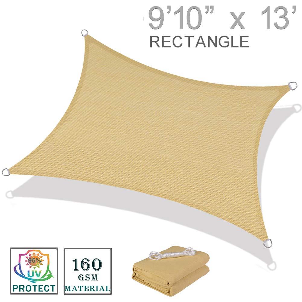"""SUNNY GUARD 9'10"""" x 13' Sand Rectangle Sun Shade"""