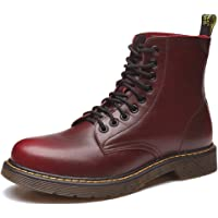 Unparalleled beauty Men's Lace up Casual Fashion Ankle Chukka Boot Martin Boots Leather Shoes(Red-46/11.5 D(M))