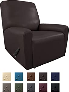 Easy-Going PU Leather Recliner slipcovers, Waterproof Stretch Sofa Covers, 4 Pieces Stretch Furniture Protector, Anti-Slip Elastic Strap Shield Pets Kids Children Cats Dogs (Recliner, Chocolate)