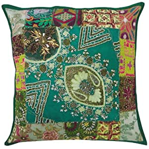 Decorative Handmade Pillow Case Green 43cm Patchwork Designer Cotton Cushion Cover Indian Gift Art 17 Inches