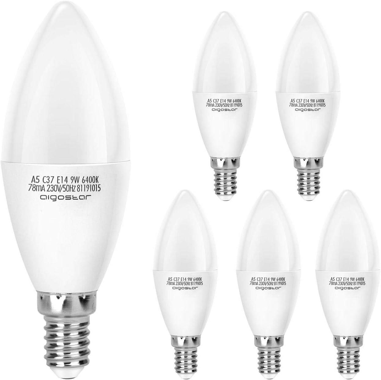 Aigostar Pack de 5 Bombillas LED Vela 9W, 720 lúmenes luz blanca fría 6400K, E14 [Clase de eficiencia energética A+]