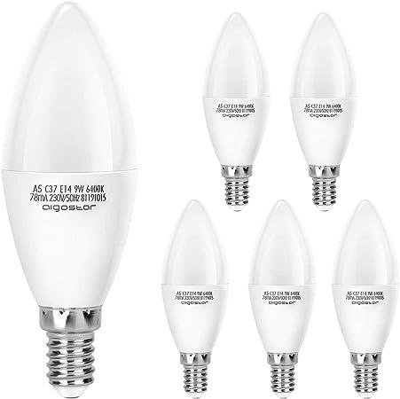 Aigostar Pack de 5 Bombillas LED Vela E14 9W, 720 lúmenes Luz ...