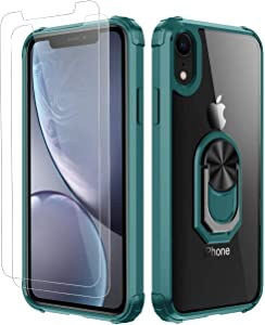 iPhone XR Case,[ Military Grade ] with [ Glass Screen Protector] 15ft. Drop Tested Protective Case | Kickstand | Compatible with Apple iPhone XR Case -Dark Green