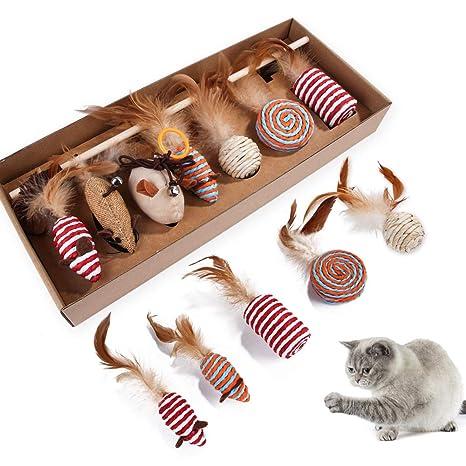 ANLIN - Juego de 7 Palos de Juguete para Gatos interactivos ...