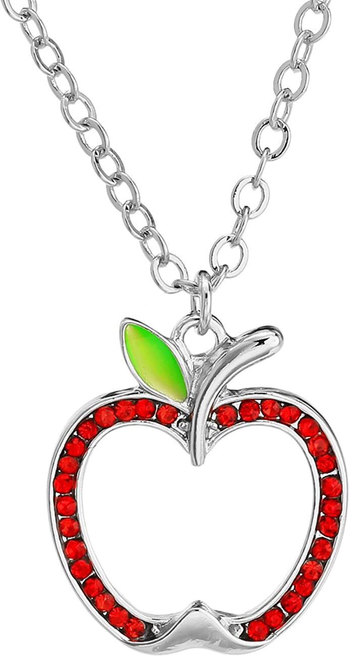 PANGRUI Lovely Crystal Fresh Red Apple Pendant Necklace,Christmas Eve Gift