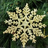 12 x Gold Glitter Snowflake Shape Hanging Christmas Tree Ornament Window Decoration XMAS Accessories