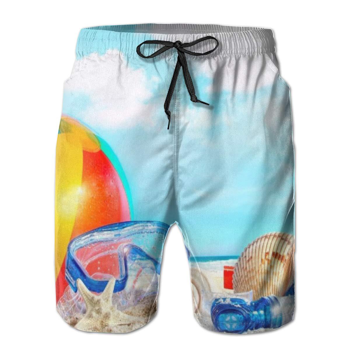 WMDJEG Tropical Hawaiian Beach Mens Summer Beachwear Sports Running Swim Board Shorts Mesh Lining