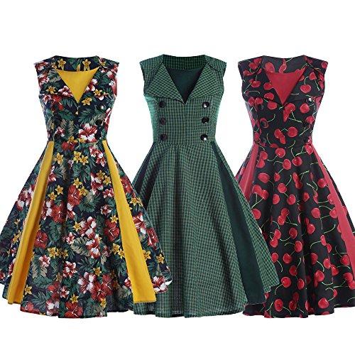 Cocktail Cherry Sleeveless Vintage Dress ZAFUL Style Dress Rockabilly Red Party Swing 50s Polka Dot Women's Elegant nRxaZv