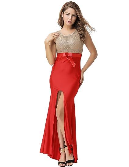 Elegante señoras largas), color rojo y dorado Sheer corpiño noche cóctel fiesta Prom Vestido