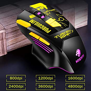 KEPOS M416 Wired USB Gaming Mouse 800-4800DPI RGB 8 Key Optical Office Mice