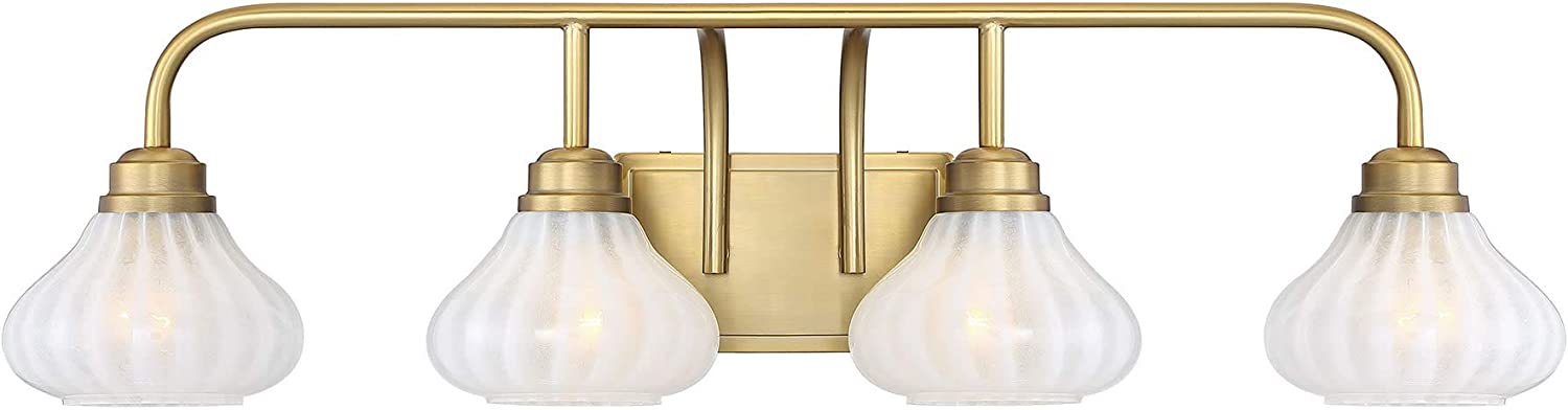 "Savoy House 8-2410-4-322 Darlington Warm Brass 4-Light Bathroom Vanity Light (34"" W x 9""H)"