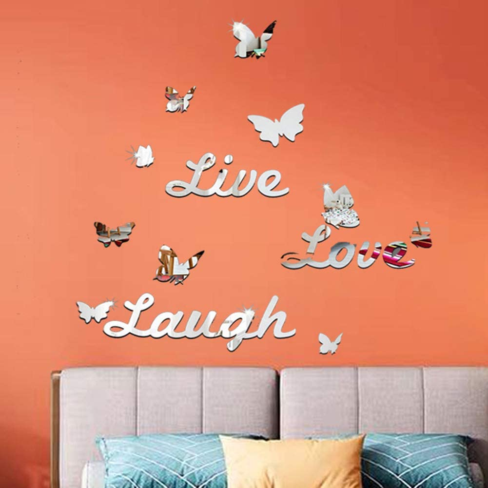 Wall Stickers Murals for Bedroom,Living Room,Kids Nursery RoomDoor Bathroom Sitting Room,Butterfly Live Love Laugh Fashion DIY Art Home Decorations Art Décor 21 Pcs.
