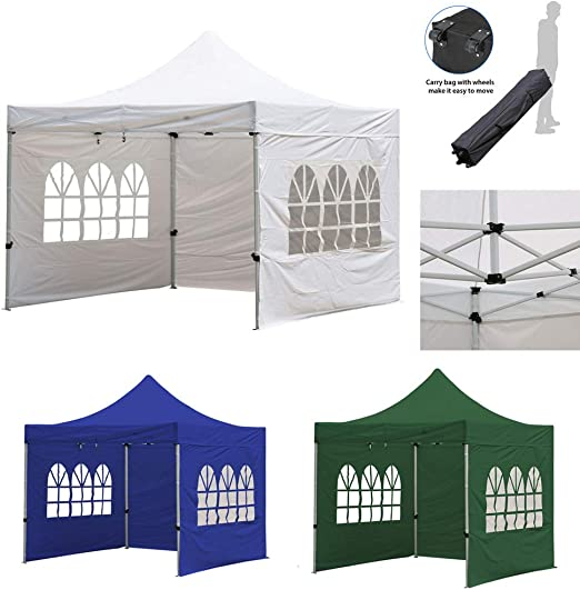 Fnova Carpa de jardín 3x3 m, Cenador Plegable, Carpas Pabellón Estable, Pop Up Gazebo Impermeable, Protección Solar, Ideal para Festival, Fiesta, Camping (Blanco): Amazon.es: Jardín