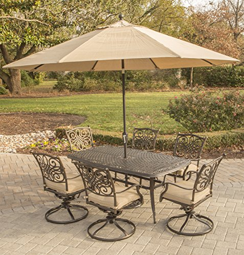 Aluminum 7 Piece Patio - Hanover TRADITIONS7PCSW6-SU Traditions 7 Piece Dining Set in Tan Outdoor Furniture, 72 x 38,