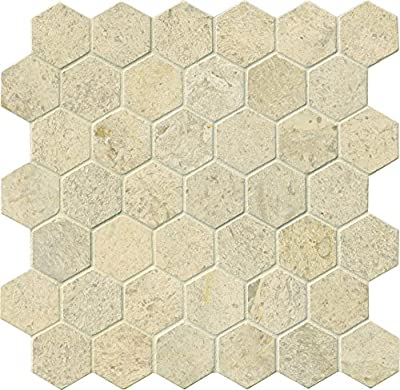 Coastal Sand Hexagon 12 In. X 10 mm Honed Limestone Mesh-Mounted Mosaic Tile, (10 sq. ft., 10 pieces per case)